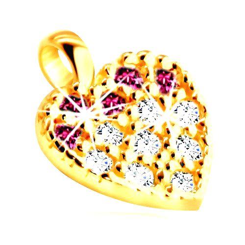 Zlatý prívesok 375 - obrys srdiečka vykladaného ružovými a čírymi zirkónikmi