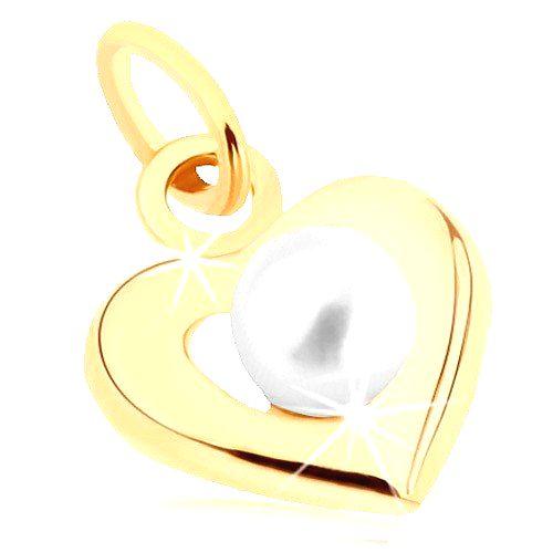 Zlatý prívesok 375 - široká srdiečková kontúra
