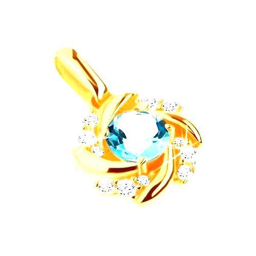 Zlatý prívesok 375 - slnko s modrým topásom a zatočenými lúčmi