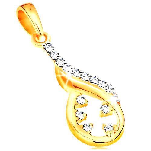 Zlatý prívesok 585 - asymetrický obrys slzy