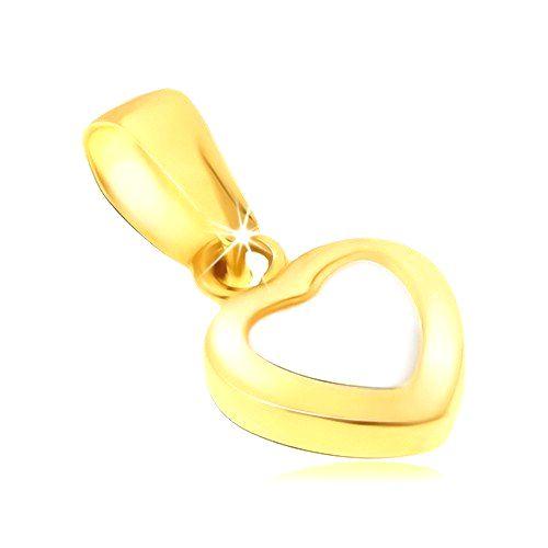Zlatý prívesok 585 - dvojfarebné pravidelné srdce