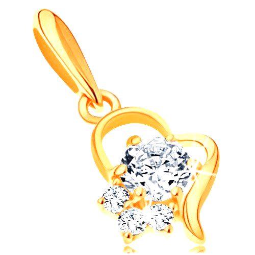 Zlatý prívesok 585 - kontúra nepravidelného srdca s čírymi zirkónmi