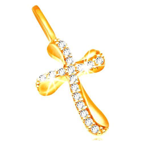 Zlatý prívesok 585 - krížik so zvlnenými ramenami