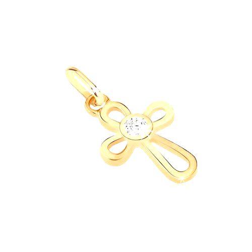 Zlatý prívesok 585 - krížik z tenkých slučiek