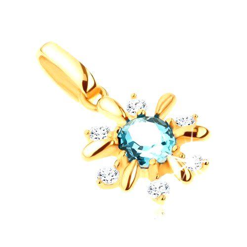 Zlatý prívesok 585 - kvietok zdobený čírymi kamienkami a modrým topásom