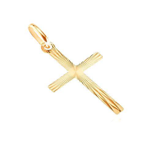 Zlatý prívesok 585 - latinský kríž so zrkadlovými plôškami