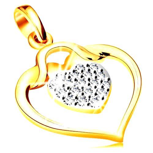 Zlatý prívesok 585 - lesklý obrys srdca s menším zirkónovým srdiečkom vo vnútri