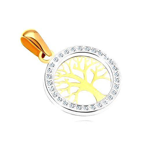 Zlatý prívesok 585 - lesklý strom života v zirkónovej kontúre kruhu