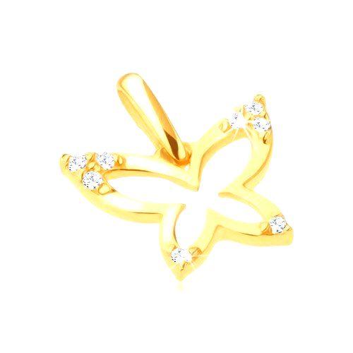 Zlatý prívesok 585 - ligotavý obrys motýľa