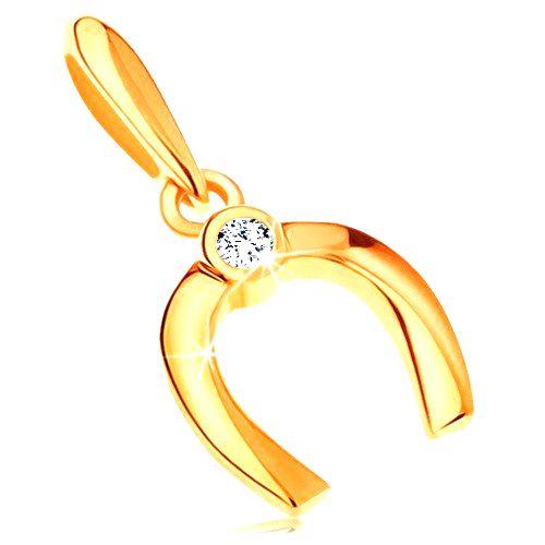 Zlatý prívesok 585 - malá lesklá podkovička pre šťastie