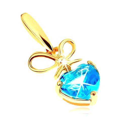 Zlatý prívesok 585 - mašlička a srdiečkový topás v modrom odtieni
