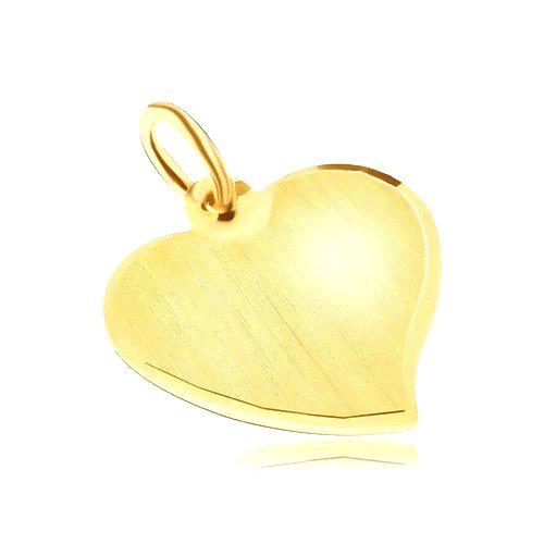 Zlatý prívesok 585 - nepravidelné ploché srdce