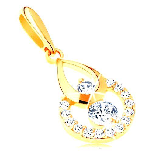 Zlatý prívesok 585 - obrys kvapky a kruhu