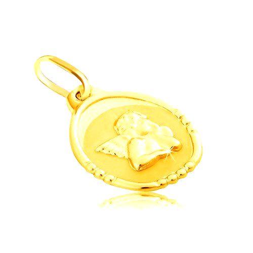Zlatý prívesok 585 - oválna známka s anjelom