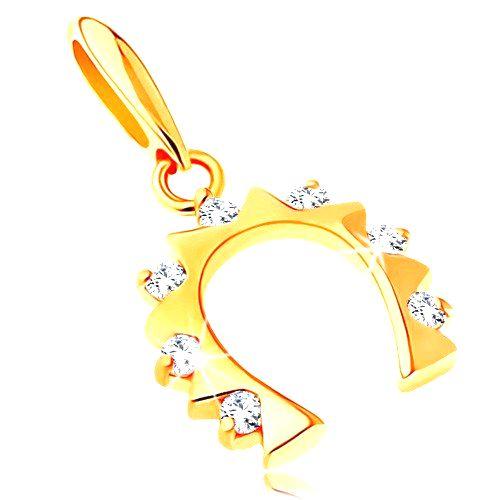 Zlatý prívesok 585 - podkovička pre šťastie so zirkónmi čírej farby