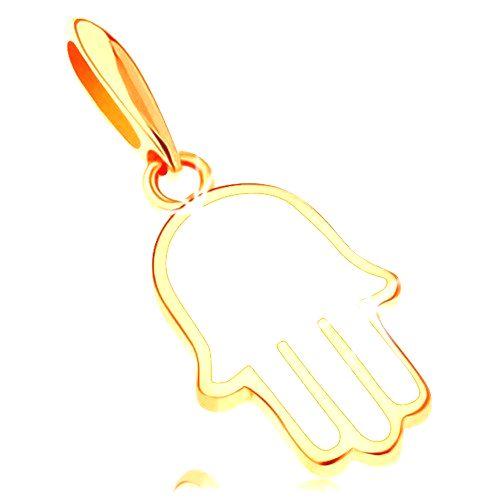 Zlatý prívesok 585 - ruka Fatimy pokrytá glazúrou bielej farby