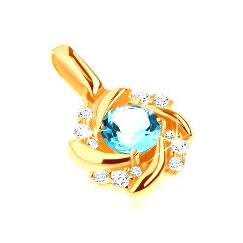 Zlatý prívesok 585 - slnko s modrým topásom a zatočenými lúčmi