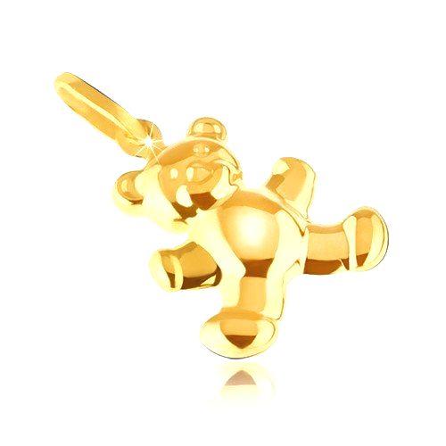 Zlatý prívesok 585 - trblietavý jemne gravírovaný 3D macík