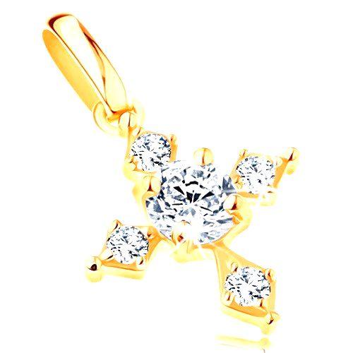 Zlatý prívesok 585 - trblietavý zirkónový kríž v čírom prevedení