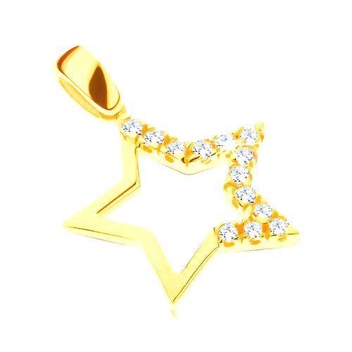 Zlatý prívesok 585 - veľká hviezda s brúsenými zirkónmi na troch cípoch