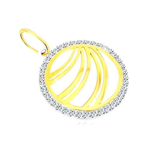 Zlatý prívesok 585 - zdvojené línie v zirkónovom prstenci z bieleho zlata