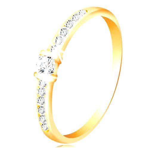 Zlatý prsteň 14K - číre trblietavé ramená