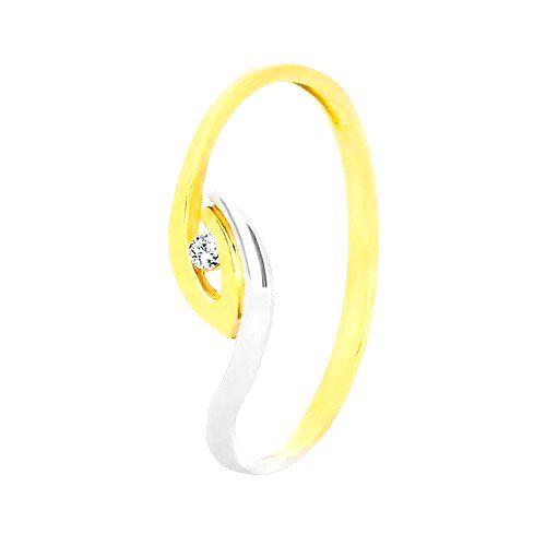 Zlatý prsteň 375 - nepravidelne zahnuté konce ramien