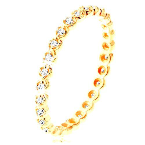 Zlatý prsteň 375 - okrúhle číre zirkóniky po celom obvode