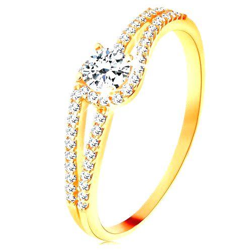 Zlatý prsteň 375 s rozdelenými trblietavými ramenami