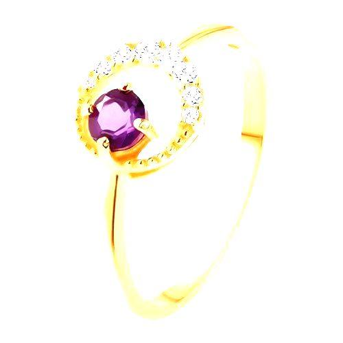 Zlatý prsteň 375 - tenký zirkónový polmesiac