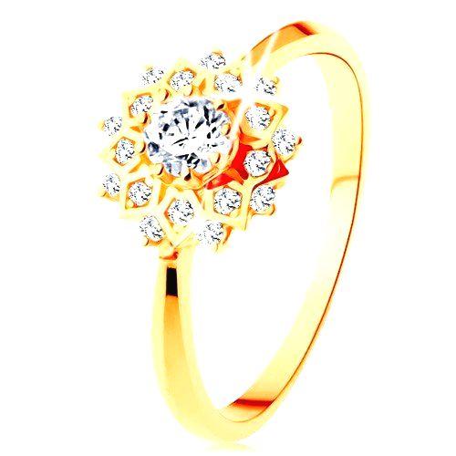 Zlatý prsteň 375 - trblietavé slnko zdobené okrúhlymi čírymi zirkónikmi - Veľkosť: 60 mm