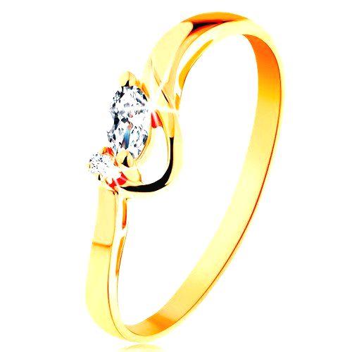 Zlatý prsteň 585 - číre brúsené zrnko a okrúhly zirkónik