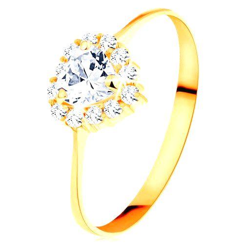 Zlatý prsteň 585 - číre zirkónové srdiečko s trblietavým okrajom - Veľkosť: 65 mm