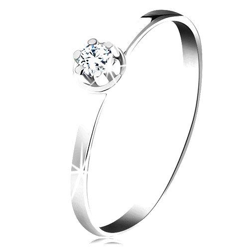 Zlatý prsteň 585 - číry diamant vo vyvýšenom okrúhlom kotlíku