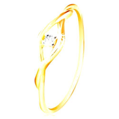 Zlatý prsteň 585 - číry okrúhly zirkón medzi dvomi tenkými vlnkami - Veľkosť: 65 mm