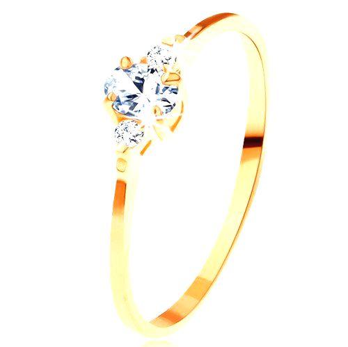 Zlatý prsteň 585 - číry oválny zirkón