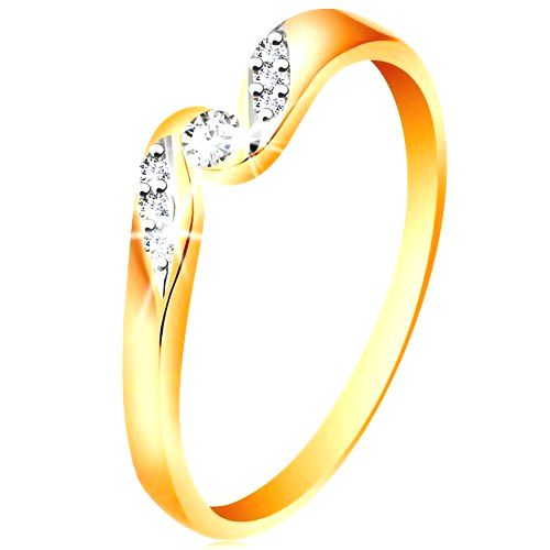 Zlatý prsteň 585 - číry zirkón medzi koncami ramien