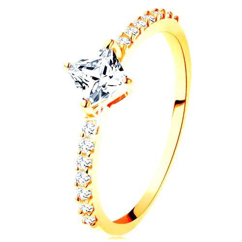 Zlatý prsteň 585 - číry zirkónový štvorček