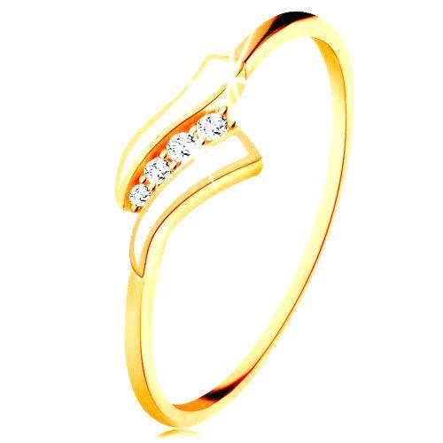 Zlatý prsteň 585 - dve biele vlnky