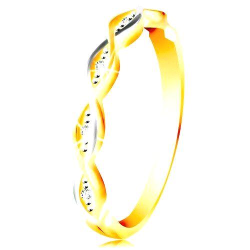 Zlatý prsteň 585 - dve tenké prepletené vlnky z bieleho a žltého zlata