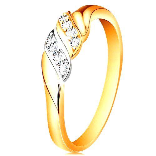 Zlatý prsteň 585 - dve vlnky z bieleho a žltého zlata