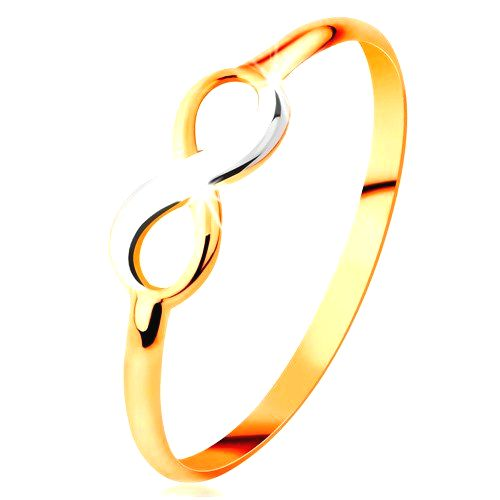 Zlatý prsteň 585 - dvojfarebný lesklý symbol nekonečna