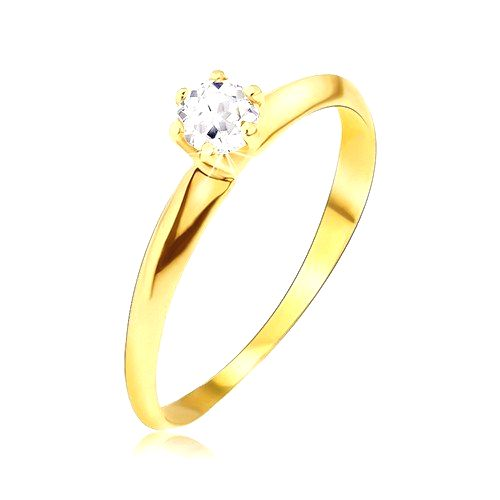 Zlatý prsteň 585 - lesklé hladké skosené ramená