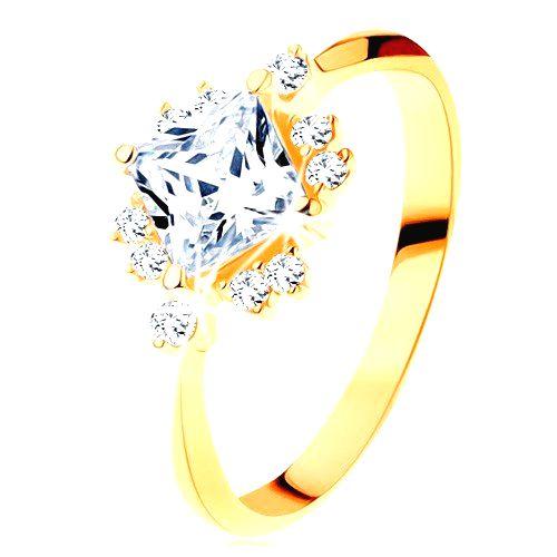 Zlatý prsteň 585 - ligotavý brúsený štvorec