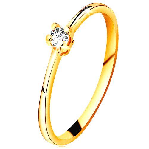 Zlatý prsteň 585 - ligotavý číry briliant v štvorcípom kotlíku
