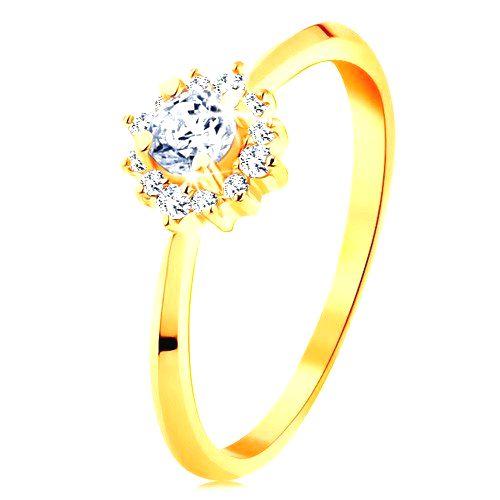 Zlatý prsteň 585 - ligotavý kvietok z čírych zirkónov