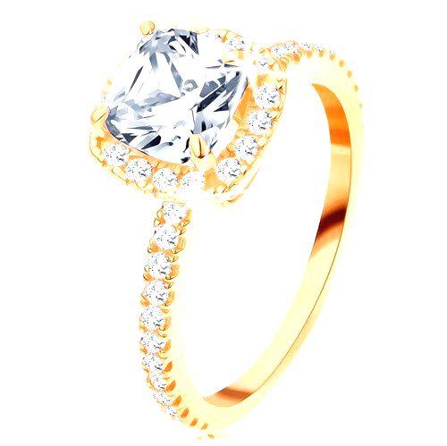 Zlatý prsteň 585 - ligotavý okrúhly zirkón v ozdobnom kotlíku