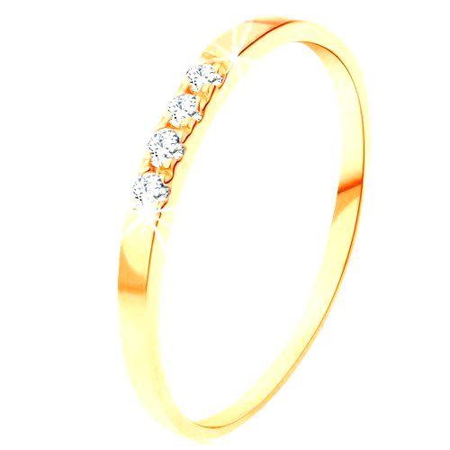 Zlatý prsteň 585 - línia štyroch čírych briliantov
