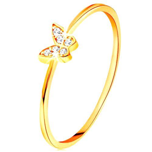Zlatý prsteň 585 - motýlik zdobený okrúhlymi čírymi zirkónmi - Veľkosť: 59 mm
