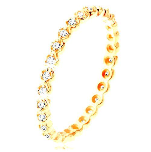 Zlatý prsteň 585 - okrúhle číre zirkóniky po celom obvode